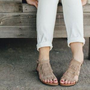 """Minnetonka - """"Maui"""" Taupe Suede Sandals"""